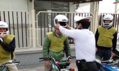 توزیع100کلاه ایمنی در بین راکبان موتورسیکلت استان زنجان